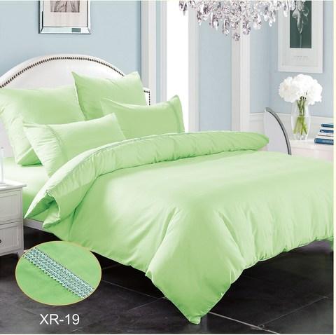 2-Спальное однотонное постельное белье светло-зеленое
