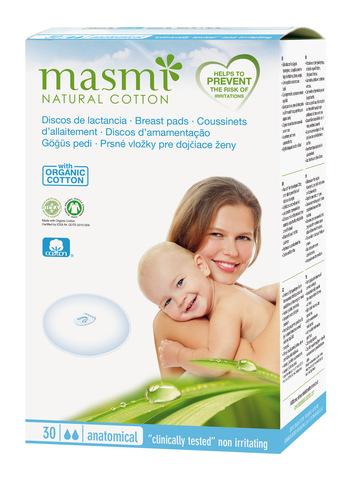 MASMI Впитывающие вкладыши ДЛЯ ГРУДИ из органического хлопка, 30 шт
