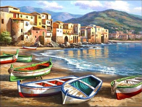 Алмазная Мозаика 30x40 Лодки на берегу (арт. GB70231)