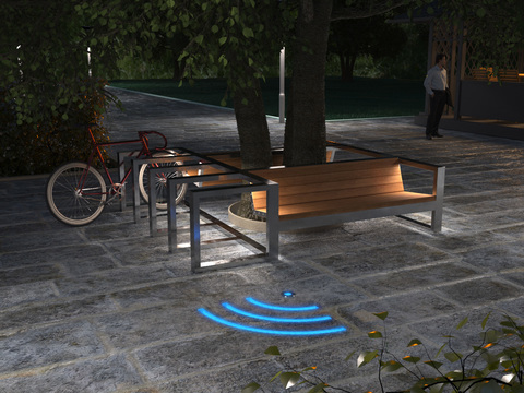 Bicycle parking CITY with lights / with paired sofa