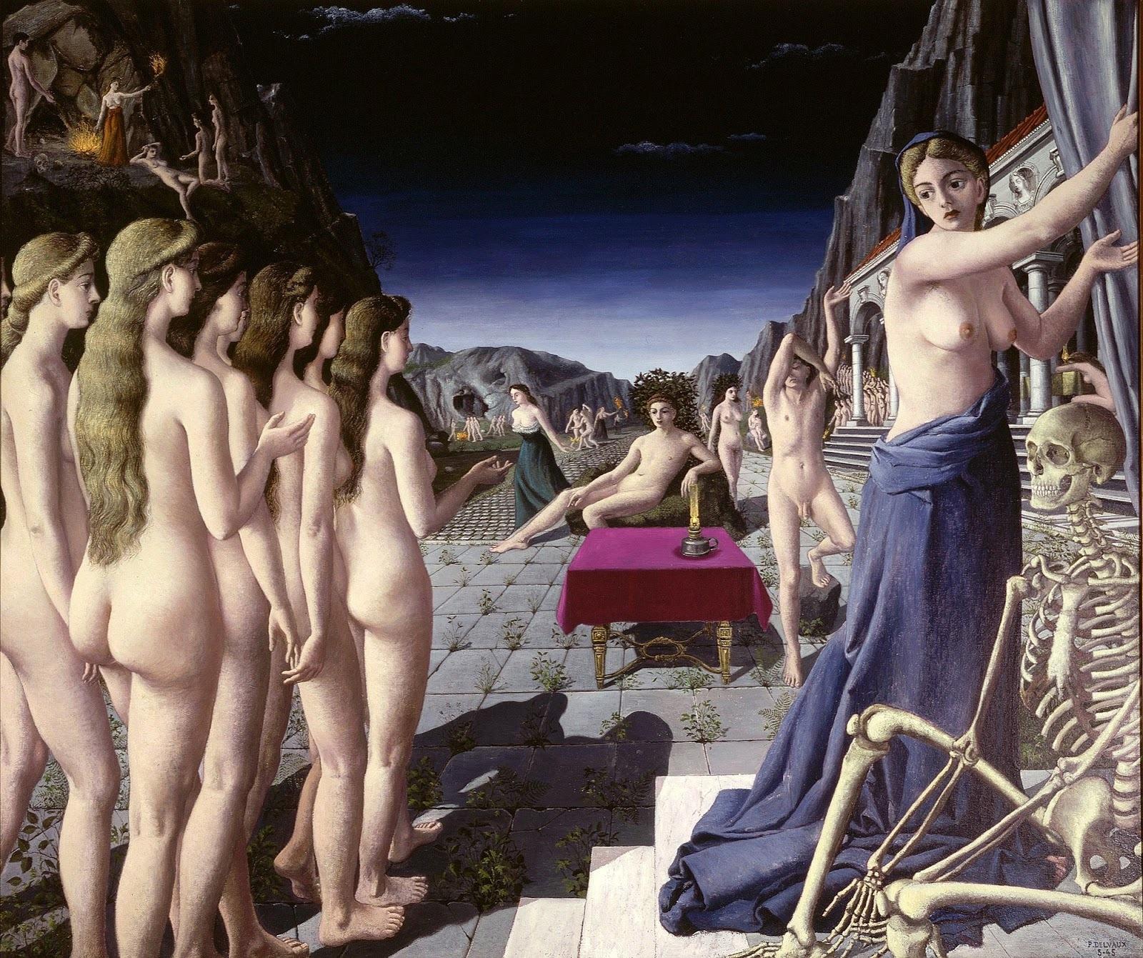 Поль Дельво. 1945. Огонь (The Fire). 194.3 х 230.5. Холст, масло. Сент Луис, Художественный музей.