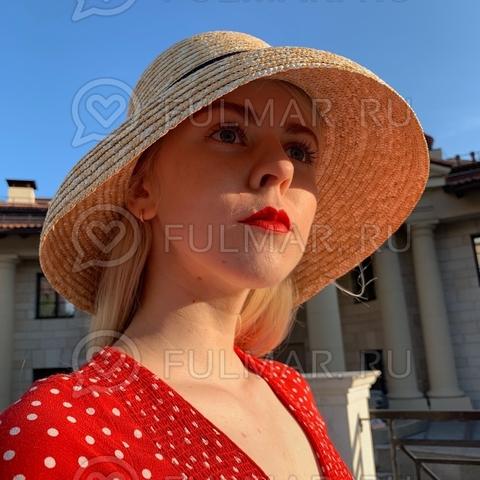 Оригинальная шляпка соломенная женская Дама Пик чёрная лента с бантом