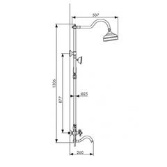Душевая система KAISER Carlson Style 44482-1 бронза схема