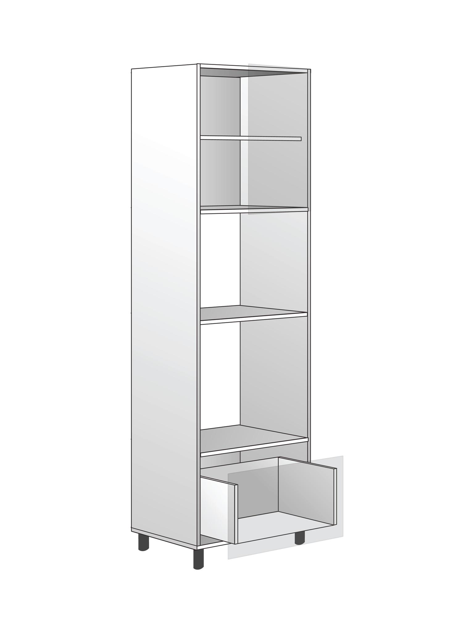 Напольный  шкаф для духовки и микроволновки, 2040х600 мм