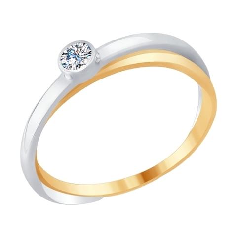Кольцо из комбинированного золота с бриллиантом  арт.1011685