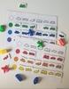 """Таблица """"Сортировка по цвету. Виды транспорта"""" с фигурками.Развивающие пособия на липучках Frenchoponcho (Френчопончо)"""