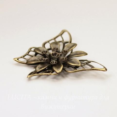 """Штамп - коннектор """"Бабочка с цветком"""" 45х35 мм (цвет - античная бронза)"""
