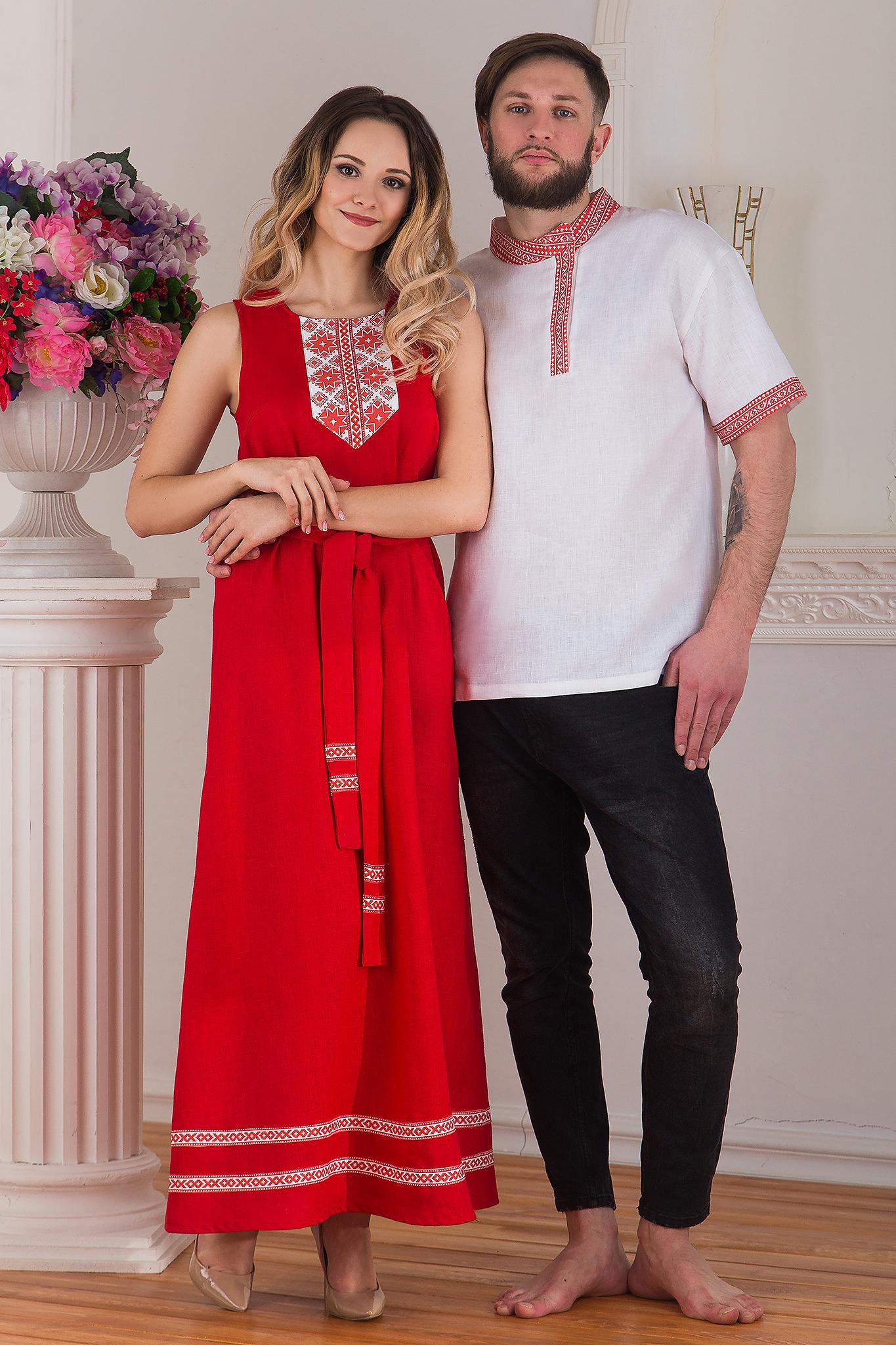 Сарафан традиционный русский льняной от Иванка с мужчиной