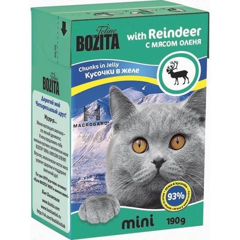 BOZITA MINI Tetra Pak консервы для кошек кусочки в желе с оленем 190 г