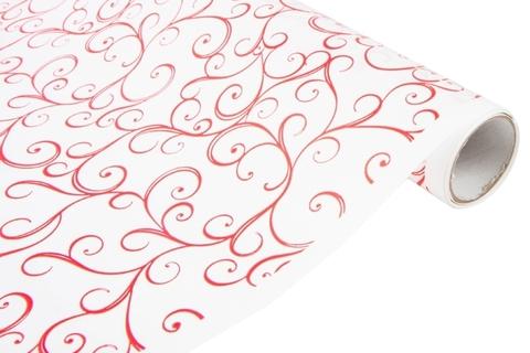 Бумага белая крафт 40гр/м2, 70см x 10м, Узор, цвет:красный
