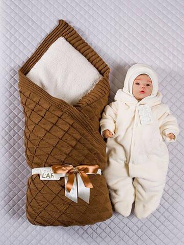 Зимний набор на выписку новорожденного Лапушка (коричневый)