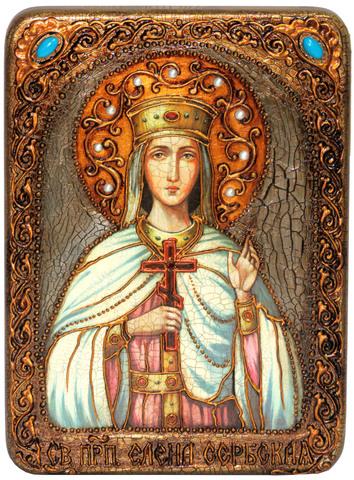 Инкрустированная икона Святая благоверная княгиня Елена Сербская 29х21см на натуральном дереве в подарочной коробке