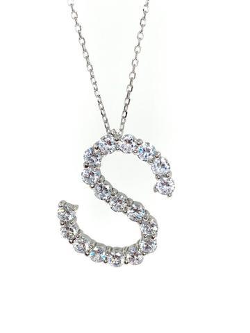 Подвеска из серебра с ослепительными цирконами буква S