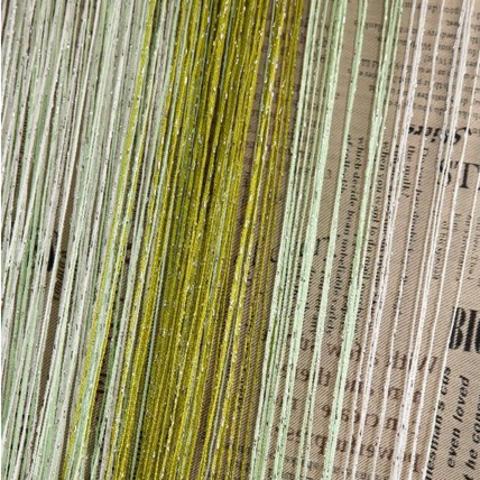 Шторы радуга дождь - Белые, салатовый, оливковые. Ш-300см., В-280см. Арт. 1-15-19