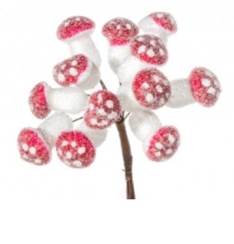 Набор грибов засахаренных на вставках 12шт., D2x2,4xL11см, белый/красный