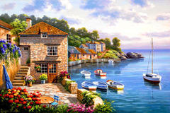 Картина раскраска по номерам 40x50 уютный дворик с видом на залив