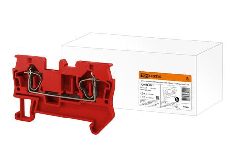 Зажим клеммный безвинтовой (ЗКБ) 1,5 мм2 17,5А красный TDM