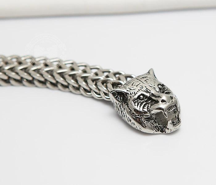 BM433 Необычный мужской браслет из стали с тиграми (21 см) фото 04