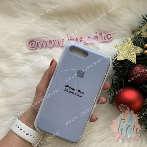 Чехол iPhone 7+/8+ Silicone Case Full /lilac cream/ голубой
