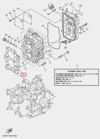 Прокладка ГБЦ для лодочного мотора F20 Sea-PRO (4-4)