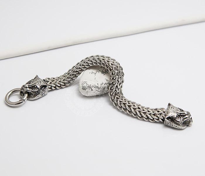 BM433 Необычный мужской браслет из стали с тиграми (21 см) фото 06