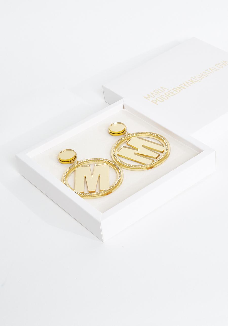 """Серьги кольца """"М"""" золотые"""