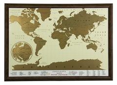 Скретч-карта мира в рамке (цвет орех)