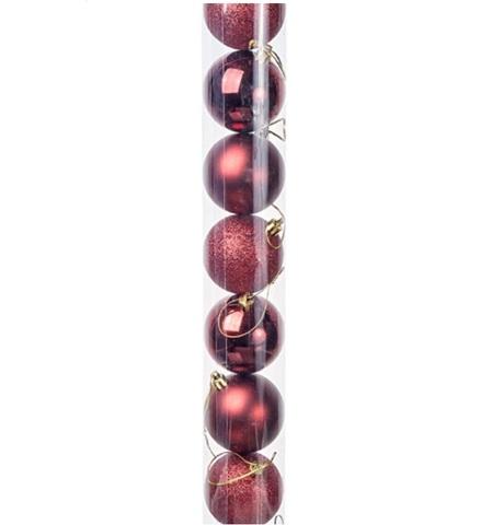Набор шаров в тубе 10шт. (пластик), D6см, цвет: темно-красный