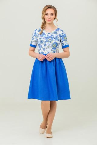 Платье Расписное Гжель в русском стиле