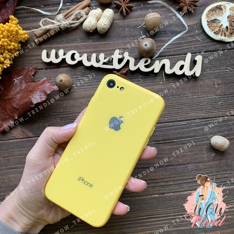 Чехол iPhone 7/8 Glass Full color Case Logo /yellow/