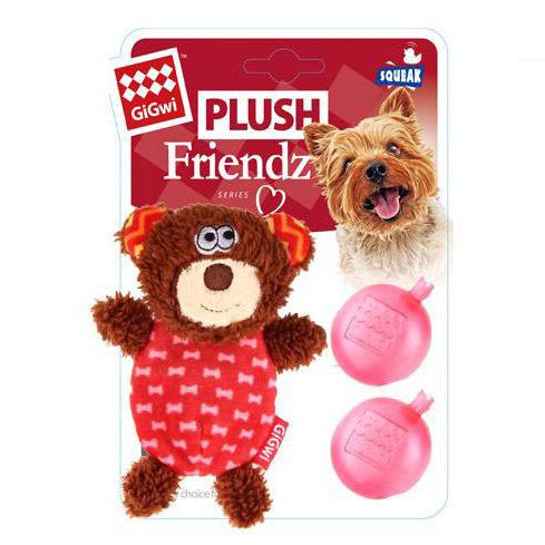 75303 Игрушка для собак gigwi Мишка с двумя пищалками
