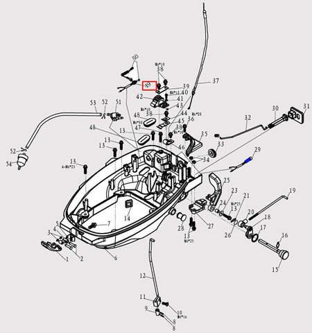 Кнопка аварийной остановки двигателя для лодочного мотора F9.8 Sea-PRO (2-49)