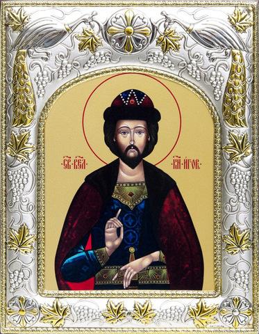 Серебряная икона именная Игорь Черниговский 18x14см