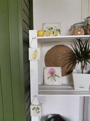 Ботаническое панно (сильное состаривание), 20х20х1 Лимоны. Клевер. Шиповник.
