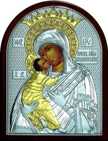Серебряная с золочением икона Божией Матери Владимирская 25х19см