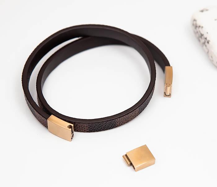 BM521-2 Двойной браслет из кожи с золотистой застежкой фото 05