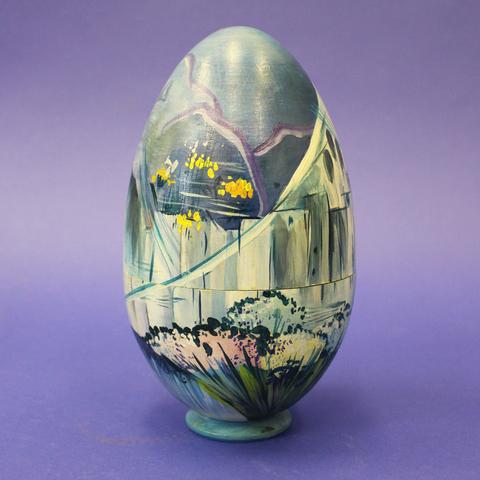 Яйцо-шкатулка пасхальное Мокрый город