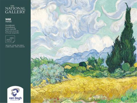 Блок для акварели Royal Talens Van Gogh National Gallery, 300 гр/м.кв, 24х32 см, 12 листов, склейка по 4 сторонам