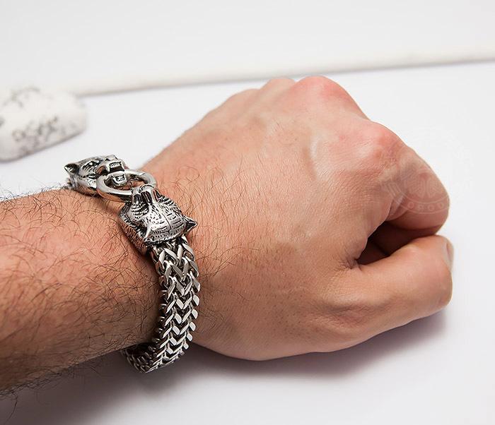 BM433 Необычный мужской браслет из стали с тиграми (21 см) фото 11