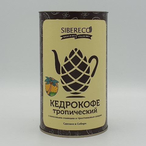 Кедрокофе тропический с кокосовыми сливками и тростниковым сахаром SIBERECO, 500 гр