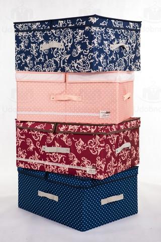 Большой складной кофр для одежды, 54*42*28 см (розовый в горошек)
