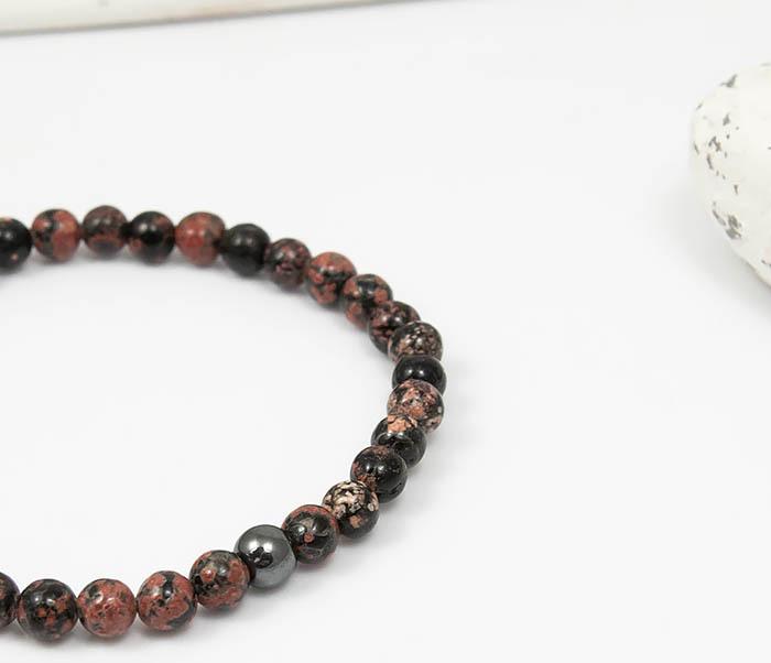 BS761 Мужской браслет из натурального камня яшмы, ручная работа фото 03