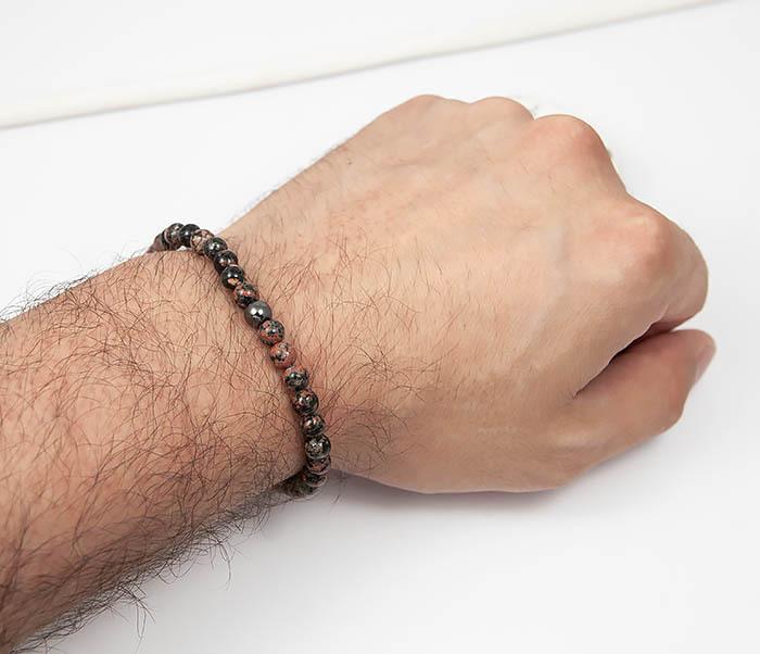 BS761 Мужской браслет из натурального камня яшмы, ручная работа фото 04