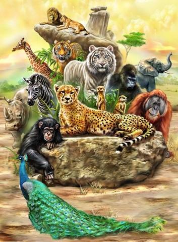 Алмазная Мозаика 5D 40x50 Животные Африки (арт.LTH0628)