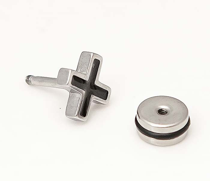 ER467-1 Мужские серьги кресты, винт фото 03