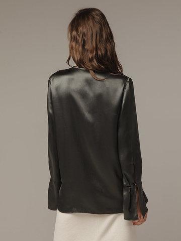 Женская темно-серая блузка из 100% шелка - фото 3
