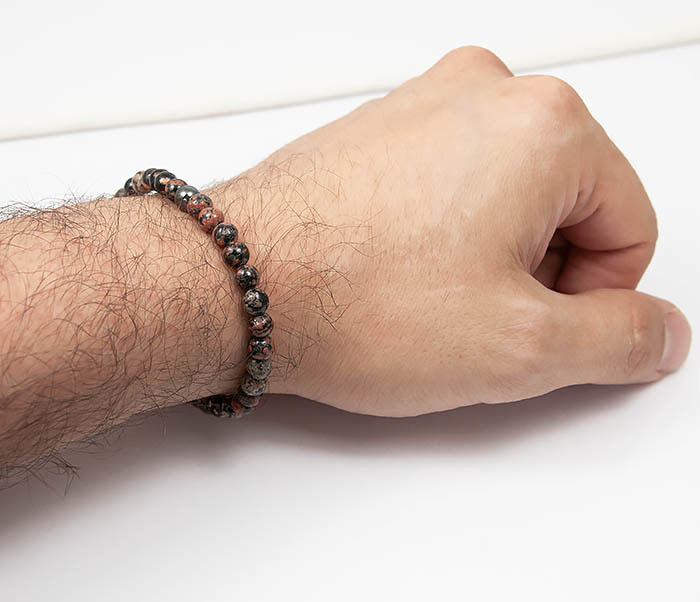 BS761 Мужской браслет из натурального камня яшмы, ручная работа фото 05
