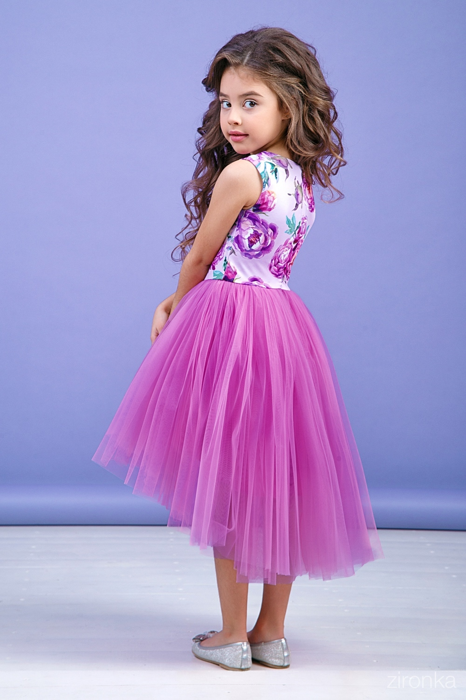 Платье сиреневое для девочки 38-9004-3