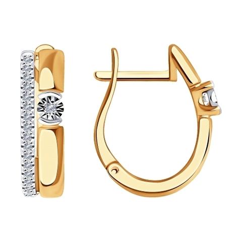 1021552 - Серьги из комбинированного золота с бриллиантами