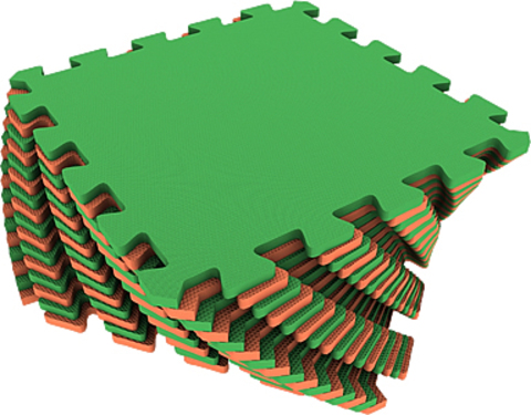Набор мягких плиток 25*25. Оранжево-зелёный. Коврики-пазлы.